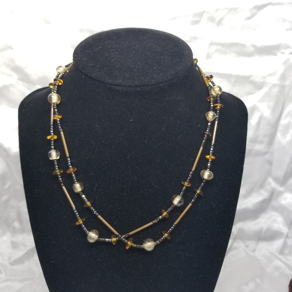 unbranded Jewelry - Glass Beads and Metal tube Necklace
